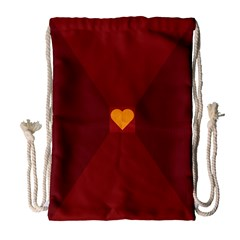 Heart Red Yellow Love Card Design Drawstring Bag (large)