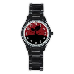 Plant Last Plant Red Nature Last Stainless Steel Round Watch