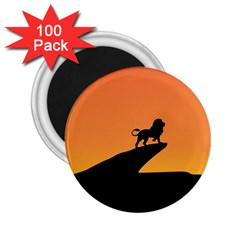 Lion Sunset Wildlife Animals King 2 25  Magnets (100 Pack)  by Nexatart