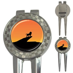Lion Sunset Wildlife Animals King 3 In 1 Golf Divots by Nexatart