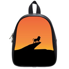 Lion Sunset Wildlife Animals King School Bags (small)  by Nexatart
