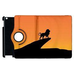 Lion Sunset Wildlife Animals King Apple Ipad 2 Flip 360 Case by Nexatart
