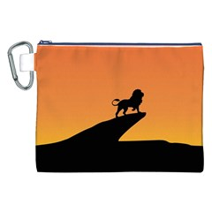 Lion Sunset Wildlife Animals King Canvas Cosmetic Bag (xxl) by Nexatart