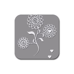 Flower Heart Plant Symbol Love Rubber Coaster (square)  by Nexatart
