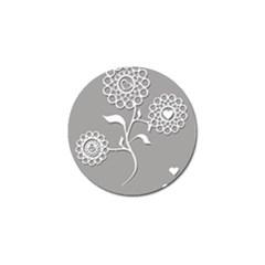 Flower Heart Plant Symbol Love Golf Ball Marker (4 Pack)