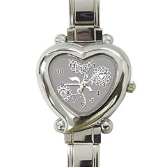 Flower Heart Plant Symbol Love Heart Italian Charm Watch