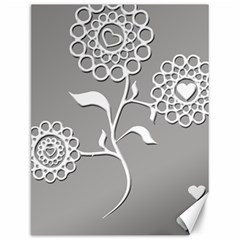 Flower Heart Plant Symbol Love Canvas 12  x 16   by Nexatart