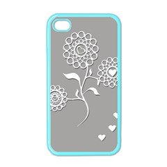 Flower Heart Plant Symbol Love Apple Iphone 4 Case (color) by Nexatart