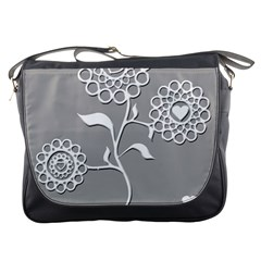 Flower Heart Plant Symbol Love Messenger Bags by Nexatart