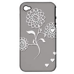 Flower Heart Plant Symbol Love Apple Iphone 4/4s Hardshell Case (pc+silicone) by Nexatart