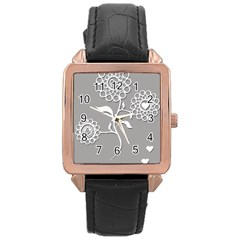 Flower Heart Plant Symbol Love Rose Gold Leather Watch  by Nexatart