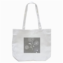 Flower Heart Plant Symbol Love Tote Bag (white) by Nexatart