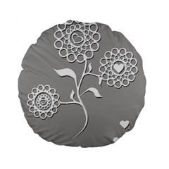 Flower Heart Plant Symbol Love Standard 15  Premium Flano Round Cushions