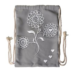 Flower Heart Plant Symbol Love Drawstring Bag (large) by Nexatart