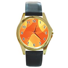Abstract Orange Yellow Red Color Round Gold Metal Watch