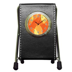 Abstract Orange Yellow Red Color Pen Holder Desk Clocks by Nexatart