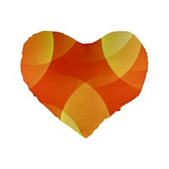 Abstract Orange Yellow Red Color Standard 16  Premium Flano Heart Shape Cushions by Nexatart