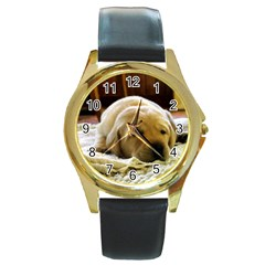 2 Puppy Yl Round Gold Metal Watch by TailWags