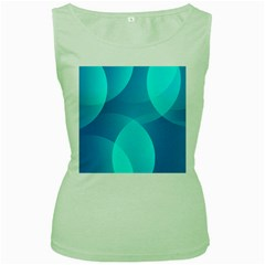 Abstract Blue Wallpaper Wave Women s Green Tank Top