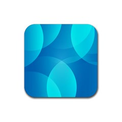 Abstract Blue Wallpaper Wave Rubber Square Coaster (4 Pack)  by Nexatart