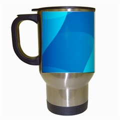 Abstract Blue Wallpaper Wave Travel Mugs (white)