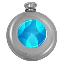 Abstract Blue Wallpaper Wave Round Hip Flask (5 Oz) by Nexatart