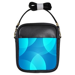 Abstract Blue Wallpaper Wave Girls Sling Bags by Nexatart