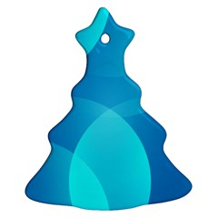Abstract Blue Wallpaper Wave Christmas Tree Ornament (two Sides)