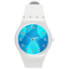 Abstract Blue Wallpaper Wave Round Plastic Sport Watch (m) by Nexatart