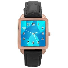 Abstract Blue Wallpaper Wave Rose Gold Leather Watch