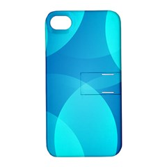 Abstract Blue Wallpaper Wave Apple Iphone 4/4s Hardshell Case With Stand by Nexatart