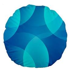 Abstract Blue Wallpaper Wave Large 18  Premium Flano Round Cushions