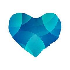 Abstract Blue Wallpaper Wave Standard 16  Premium Flano Heart Shape Cushions by Nexatart
