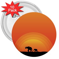 Elephant Baby Elephant Wildlife 3  Buttons (10 Pack)  by Nexatart