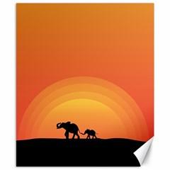Elephant Baby Elephant Wildlife Canvas 8  X 10  by Nexatart