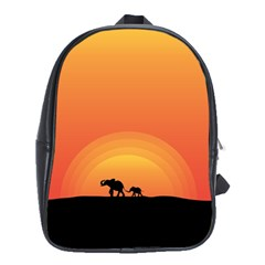 Elephant Baby Elephant Wildlife School Bags (xl)  by Nexatart