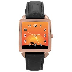 Elephant Baby Elephant Wildlife Rose Gold Leather Watch