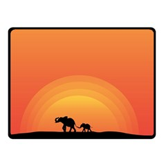 Elephant Baby Elephant Wildlife Double Sided Fleece Blanket (small)