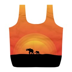 Elephant Baby Elephant Wildlife Full Print Recycle Bags (l)  by Nexatart