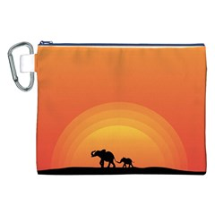 Elephant Baby Elephant Wildlife Canvas Cosmetic Bag (xxl) by Nexatart