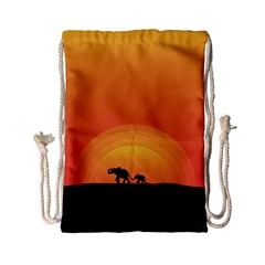 Elephant Baby Elephant Wildlife Drawstring Bag (small)