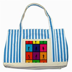 Girls Fashion Fashion Girl Young Striped Blue Tote Bag by Nexatart