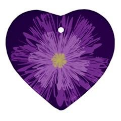 Purple Flower Floral Purple Flowers Ornament (heart) by Nexatart