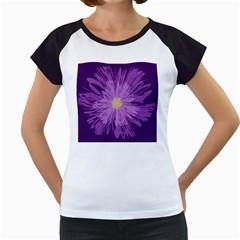 Purple Flower Floral Purple Flowers Women s Cap Sleeve T