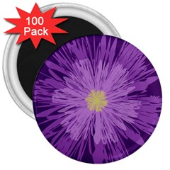 Purple Flower Floral Purple Flowers 3  Magnets (100 Pack)