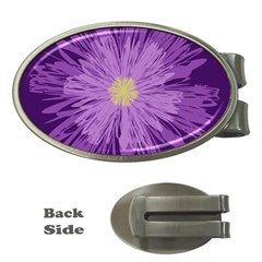 Purple Flower Floral Purple Flowers Money Clips (oval)  by Nexatart