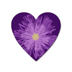 Purple Flower Floral Purple Flowers Heart Magnet by Nexatart