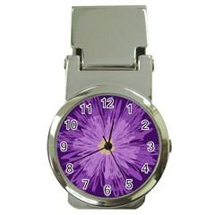 Purple Flower Floral Purple Flowers Money Clip Watches by Nexatart