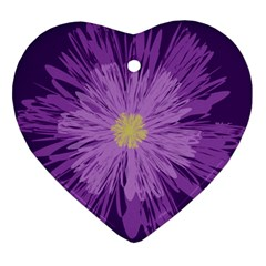 Purple Flower Floral Purple Flowers Heart Ornament (two Sides) by Nexatart