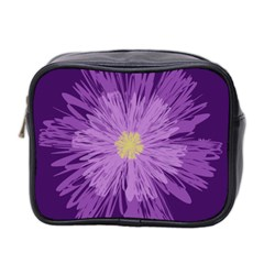 Purple Flower Floral Purple Flowers Mini Toiletries Bag 2 Side